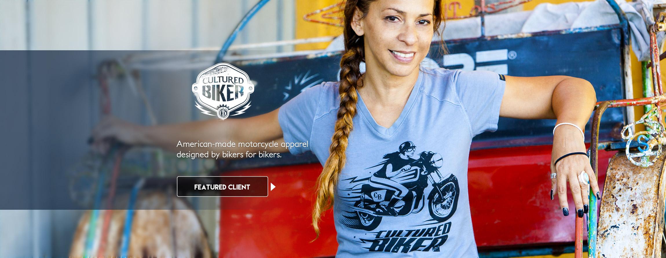 Cultured Biker motorcycle apparel graphic design illustration branding - Graphic Regime Chris Mark