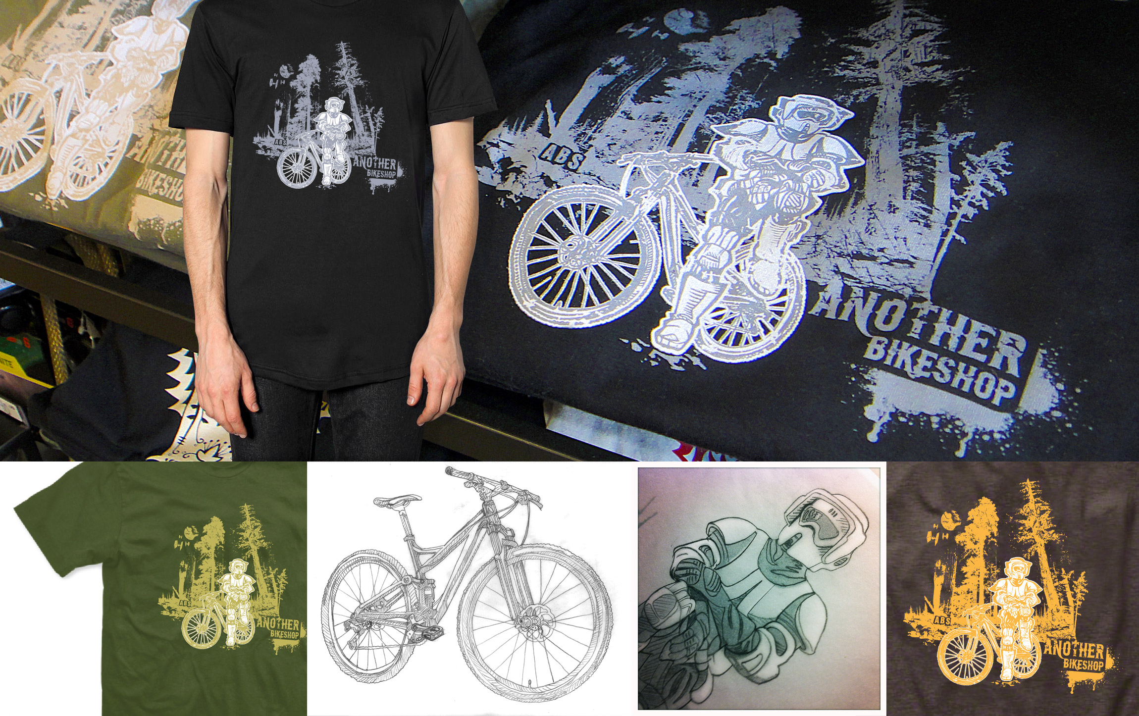 ABS - Another Bike Shop - Star Wars storm trooper tee bike apparel design - Graphic Regime
