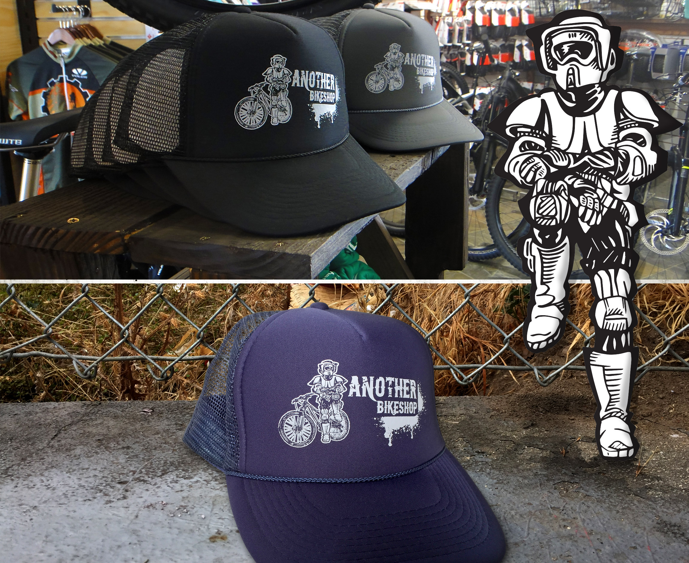 ABS - Another Bike Shop - Star Wars storm trooper trucker hat bike apparel design - Graphic Regime