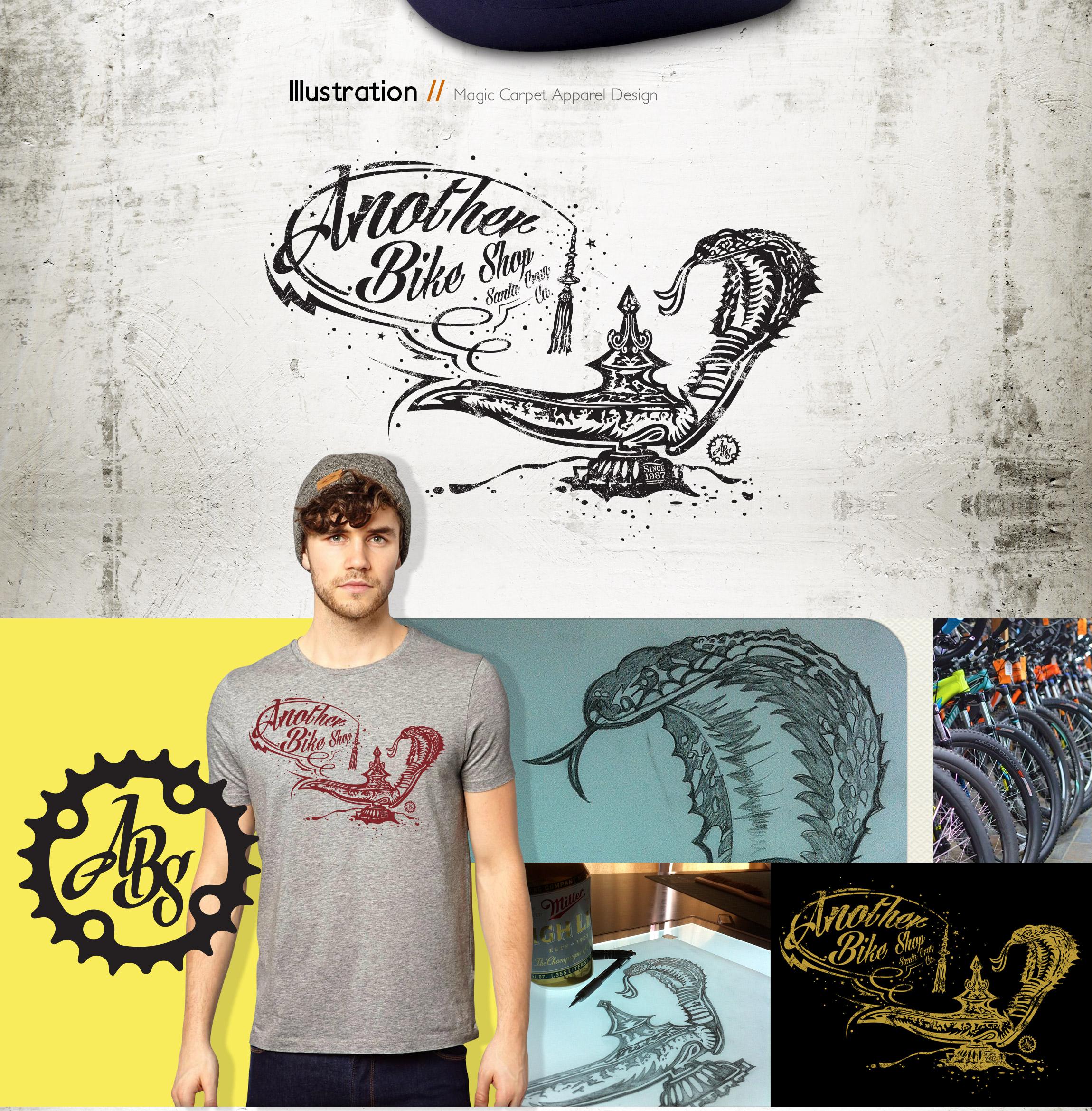 ABS - Another Bike Shop - Magic Carpet tee bike apparel design - Graphic Regime