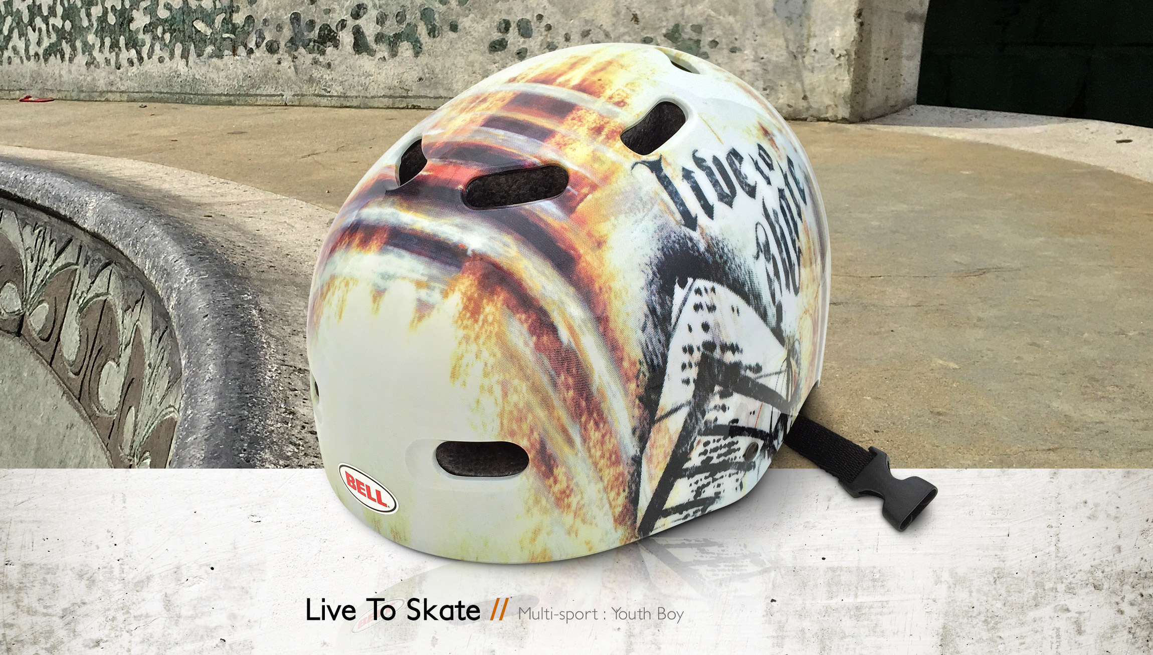 Bell Helmets LIve To Skate multi-sport youth boy bike & skate helmet design - Graphic Regime