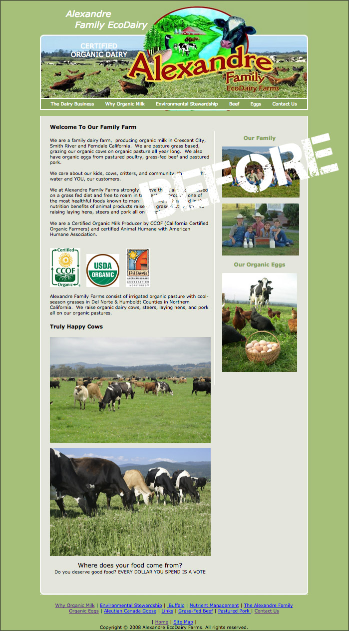 Alexandre EcoDairy Farms - previous website home page