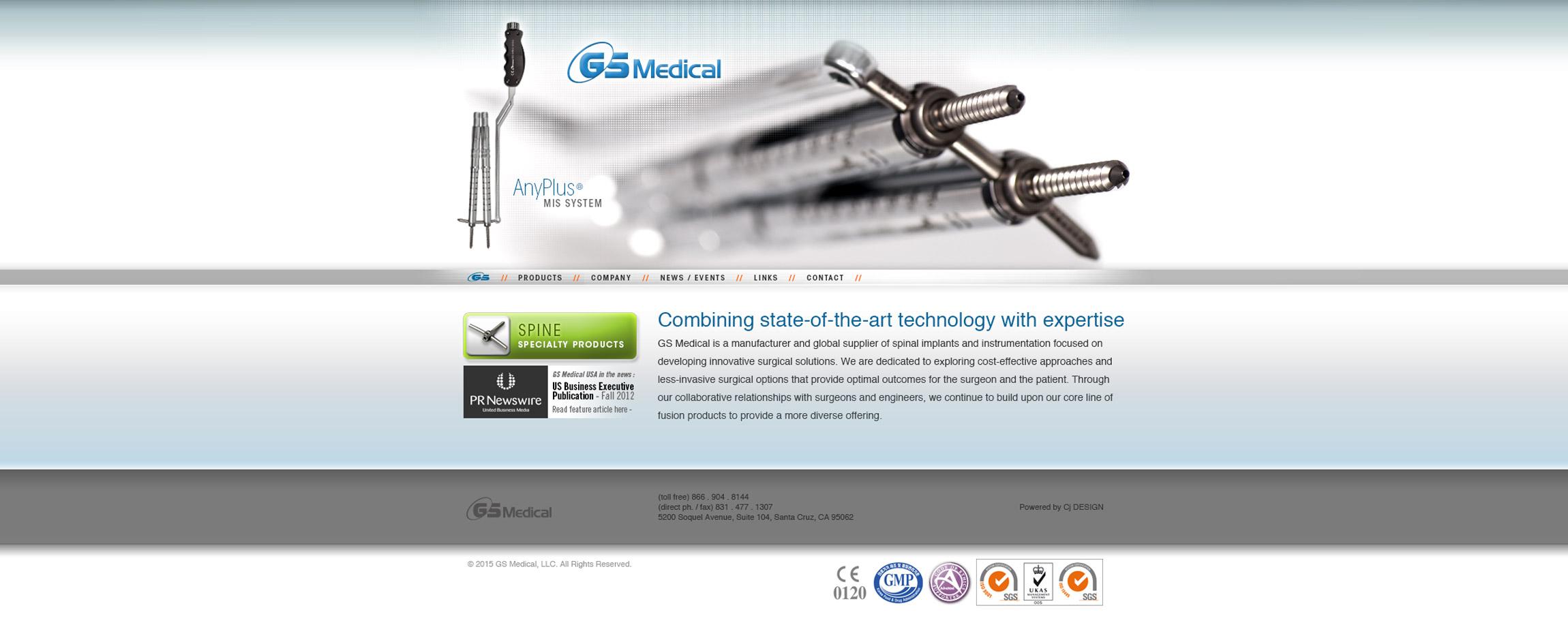 GS Medical USA Website Home Page cervical surgery medical - Graphic Regime