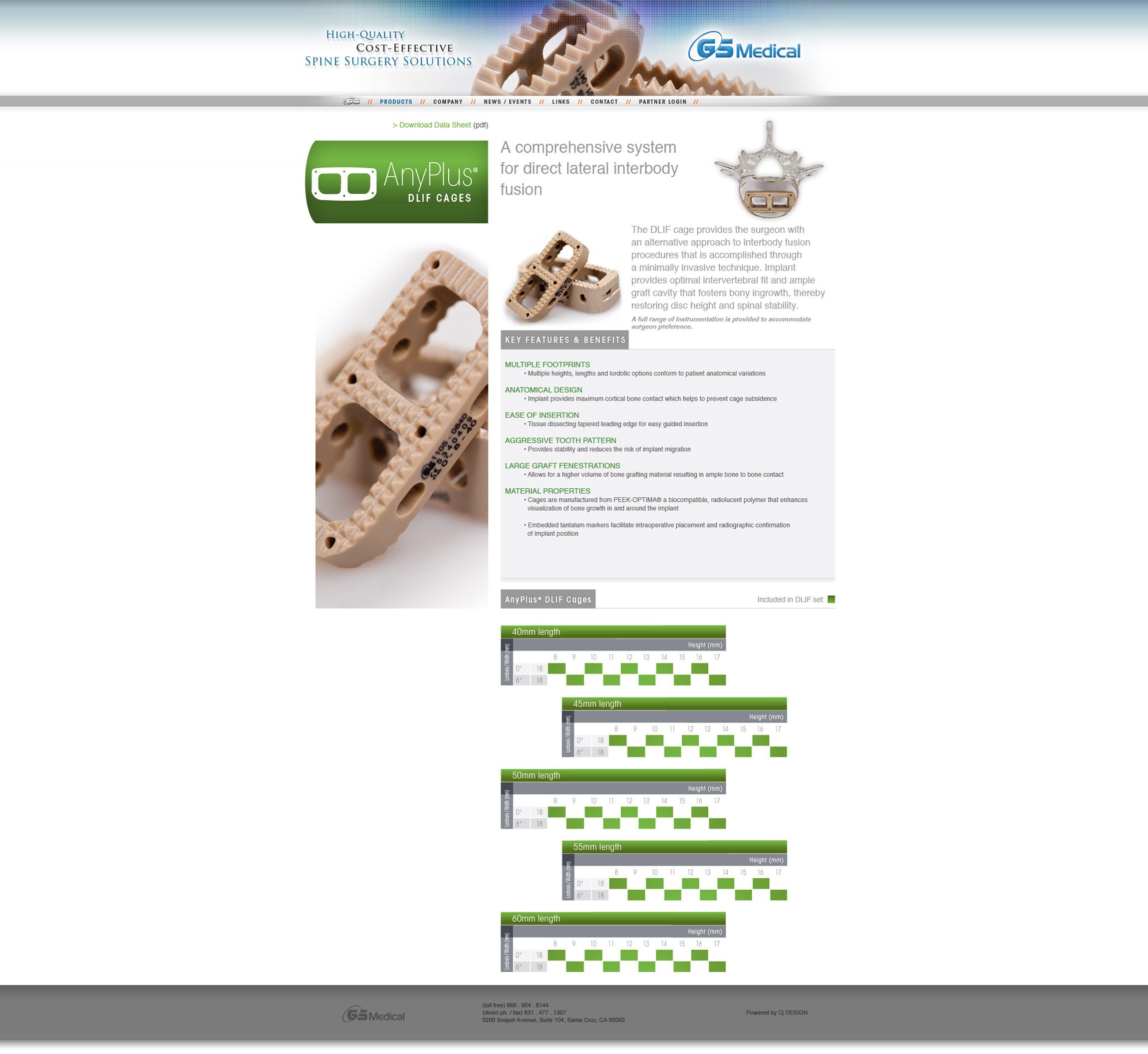 GS Medical USA Website AnyPlus Cervical Cage Product Page - Graphic Regime