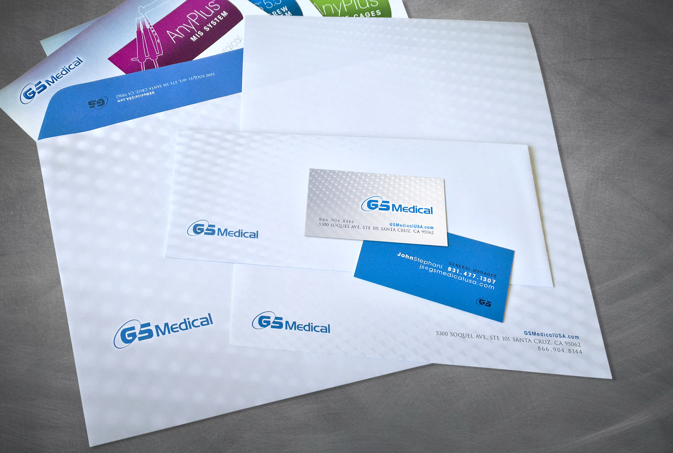 GS Medical USA Stationery Branding Business Card Letterhead Envelope - Graphic Regime
