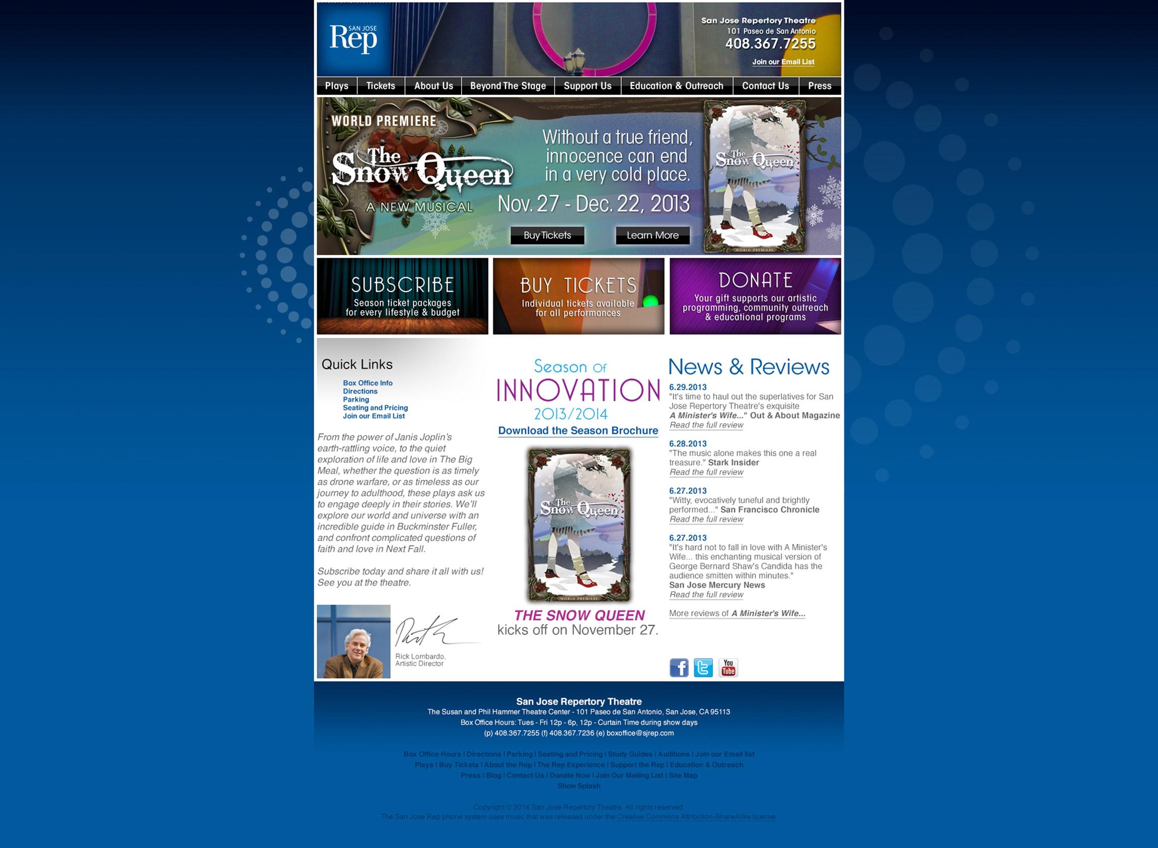 SJ Rep San Jose Repertory Website Reskin - Graphic Regime