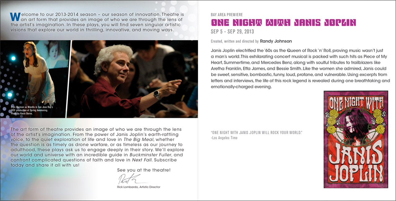 SJ Rep San Jose Repertory Theatre Season of Innovation Brochure Mailer - Graphic Regime