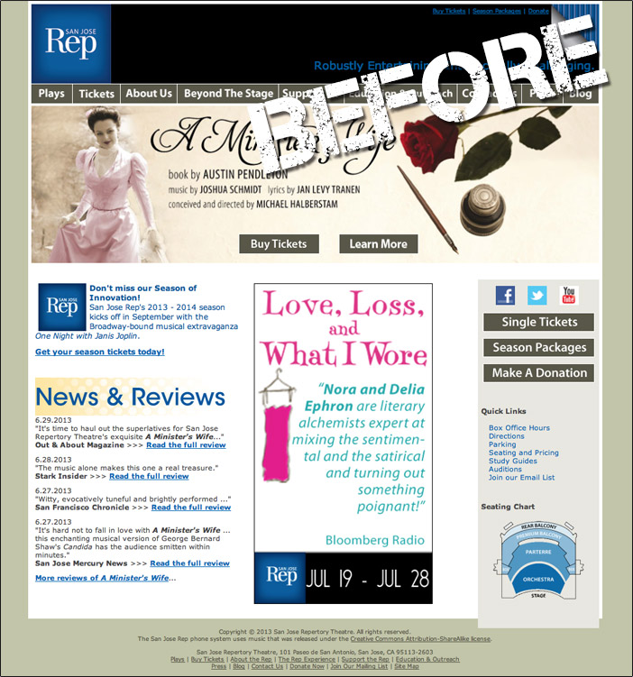 SJ Rep San Jose Repertory Theatre Old Website