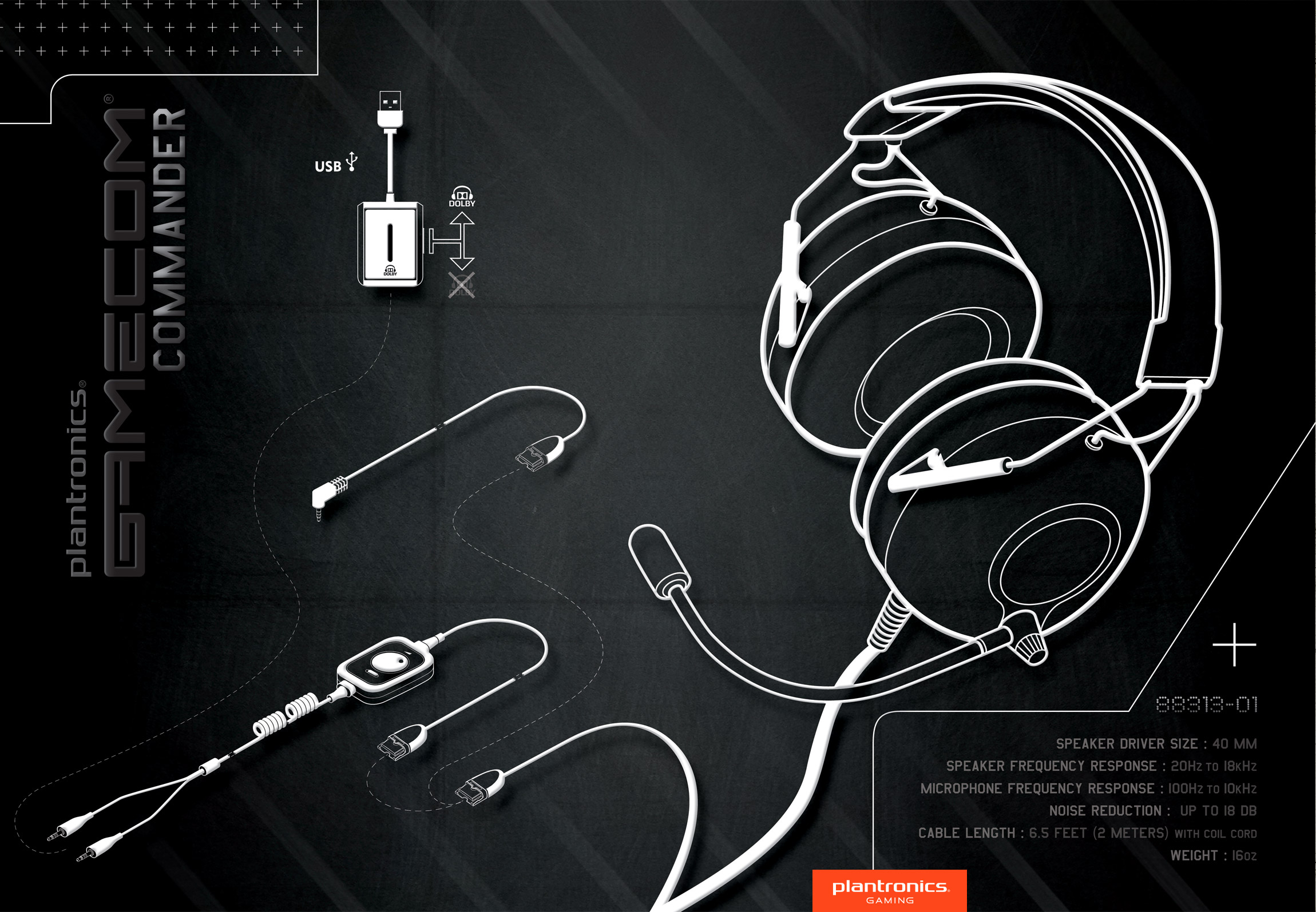 Plantronics Gamecom Commander Gaming Headphones Poster Illustration Santa Cruz - Graphic Regime