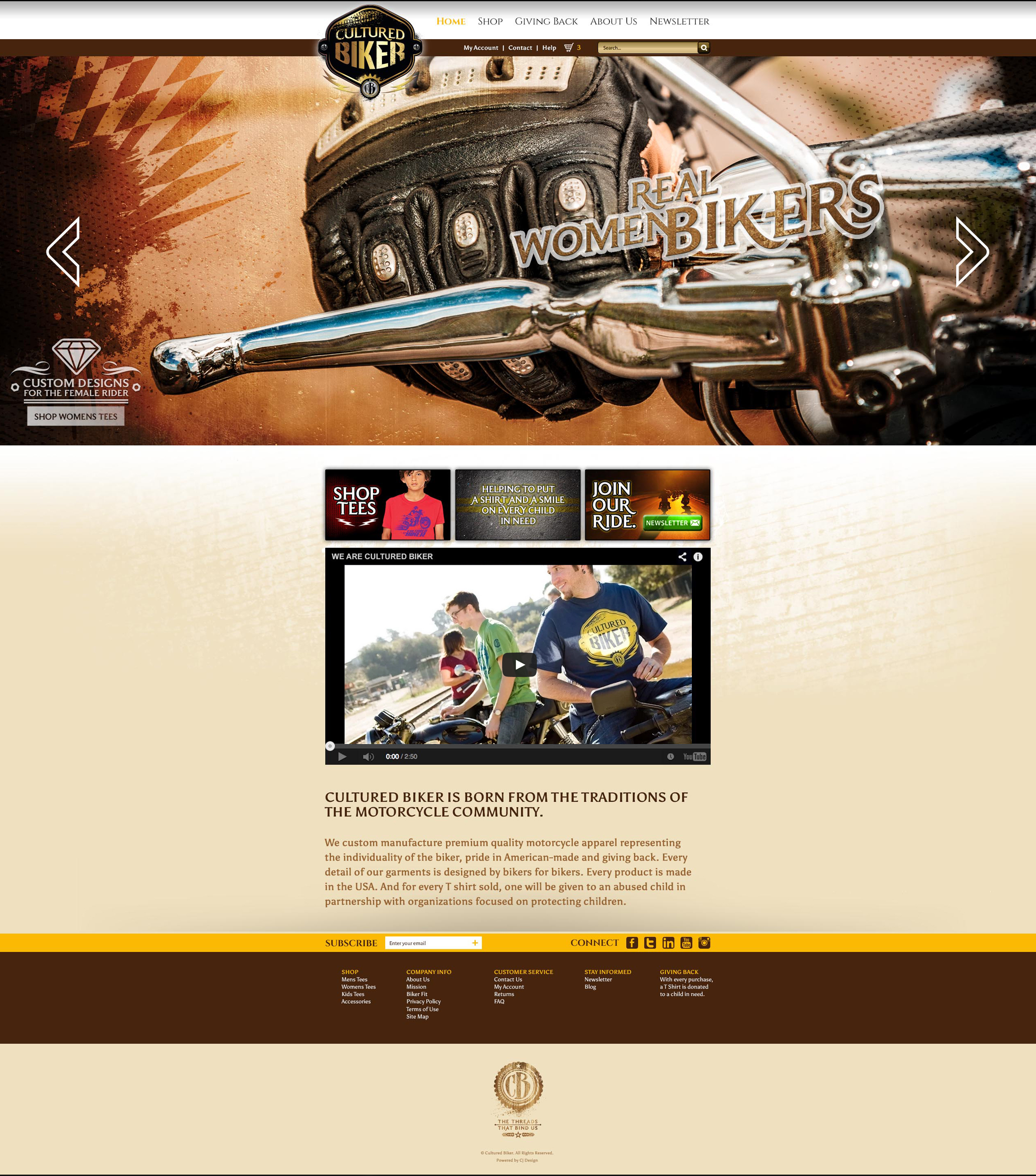Cultured Biker motorcycle apparel Website design on WordPress with WooCommerce