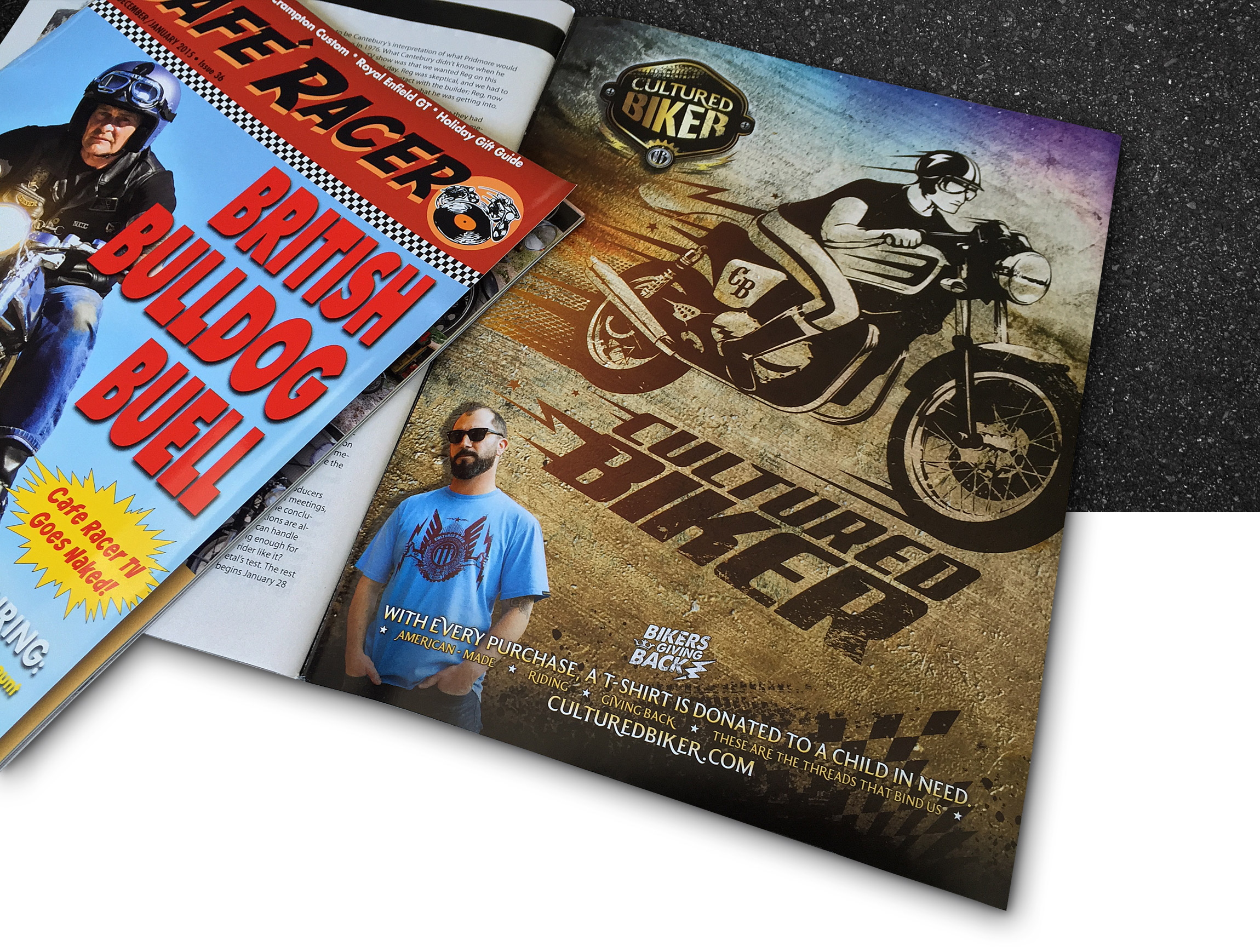 Cultured Biker motorcycle apparel magazine print advertising Cafe Racer Magazine - Graphic Regime