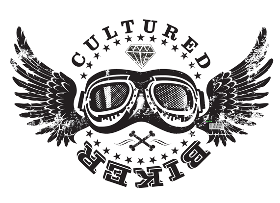 Cultured Biker motorcycle apparel goggle wings identity logo icon design concept - Graphic Regime