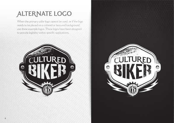Cultured Biker motorcycle apparel identity brand guidelines logo icon design - Graphic Regime